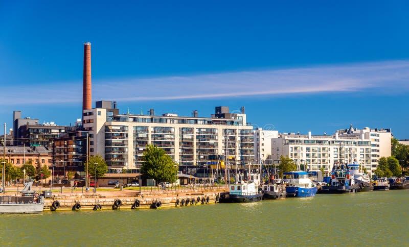 Vista del puerto de Helsinki foto de archivo