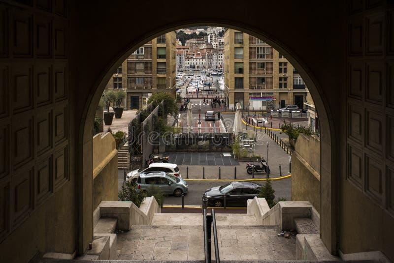 Vista del puerto Marsella de Vieux fotos de archivo