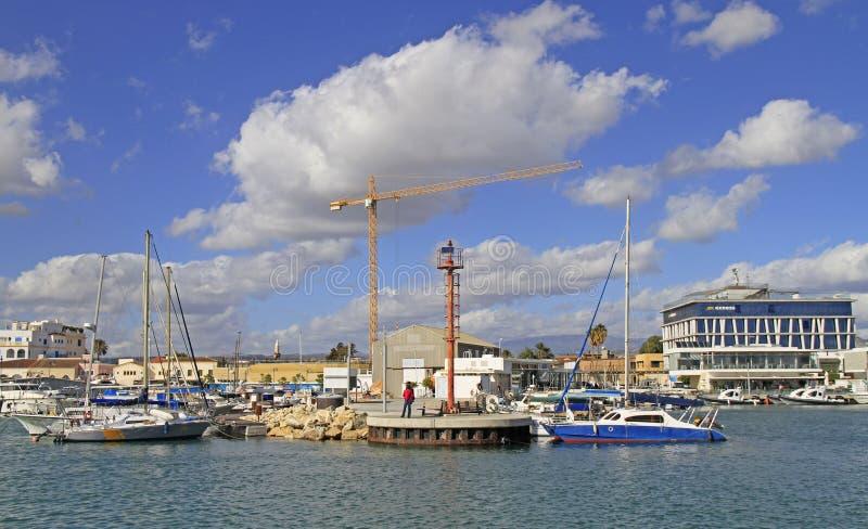 Vista del puerto viejo de Limassol foto de archivo libre de regalías