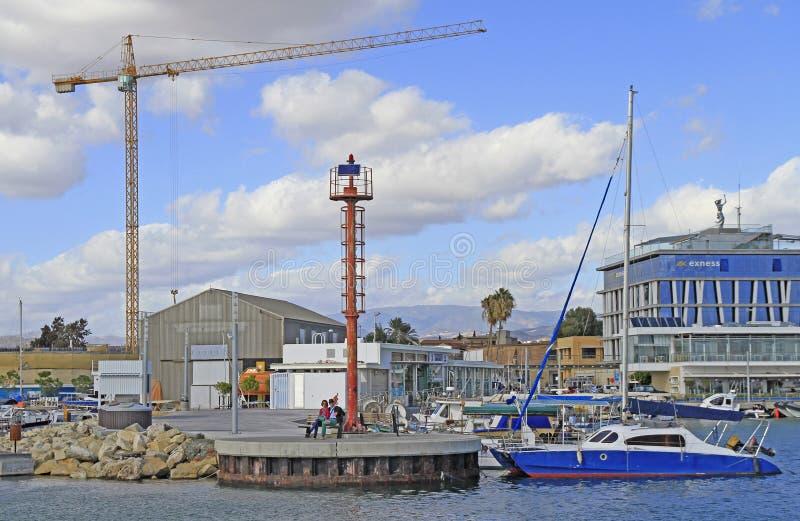 Vista del puerto viejo de Limassol imagen de archivo libre de regalías