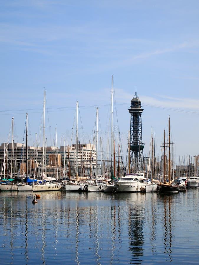 Vista del puerto del yate de Barcelona foto de archivo
