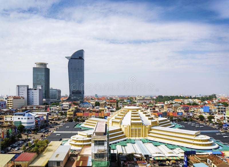 Vista del punto di riferimento del mercato centrale nella città Cambogia di Phnom Penh fotografia stock