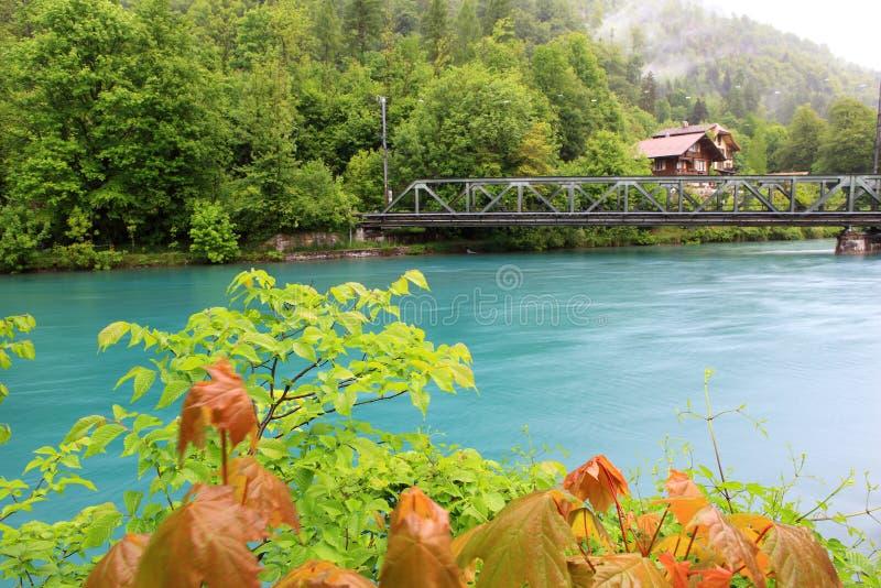 Vista del río Aare en Interlaken fotos de archivo libres de regalías