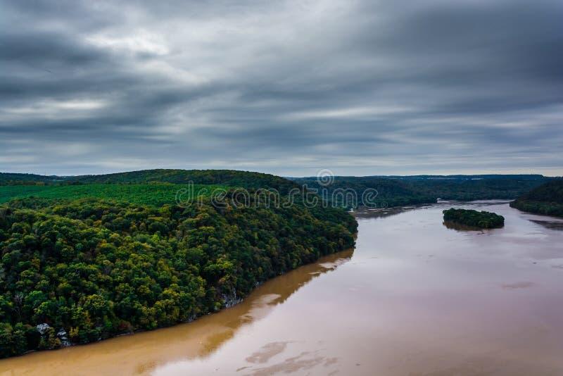 Vista del río Susquehanna del pináculo, en Lancaster Co foto de archivo libre de regalías