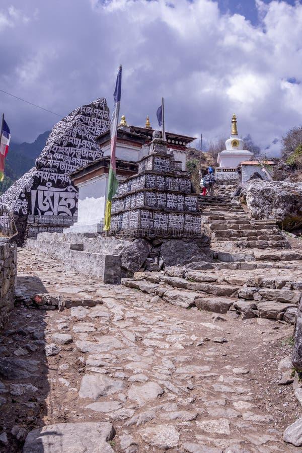 Vista del ritratto del percorso della montagna che spacca intorno alla pietra immagine stock libera da diritti