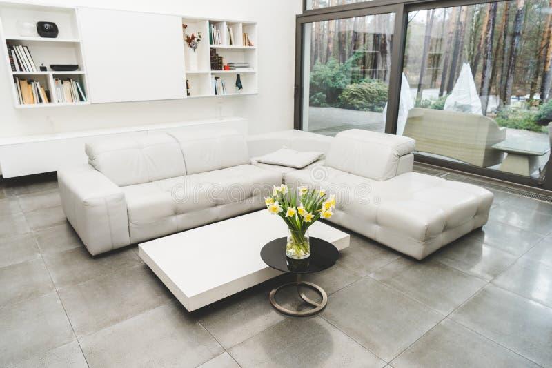 vista del salone vuoto con il sofà bianco e del mazzo dei fiori immagini stock libere da diritti
