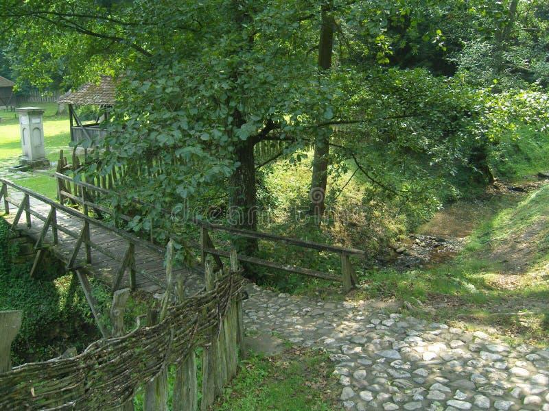 Vista del sentiero di pietra e del ponte di legno immagine stock libera da diritti