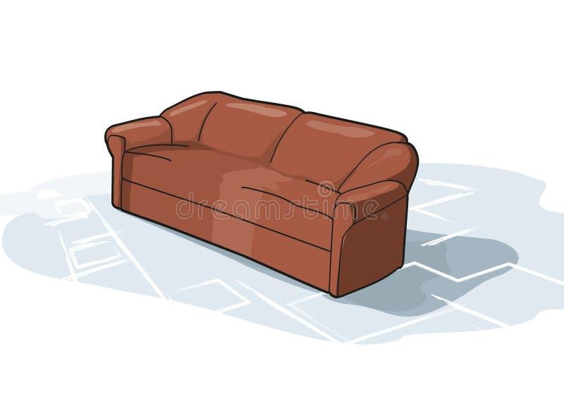 Vista del sofá de Brown en el aislamiento libre illustration