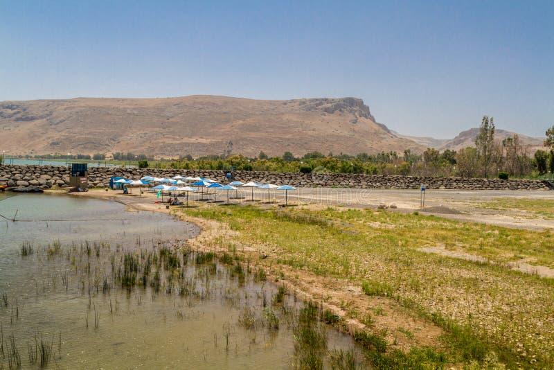 Vista del supporto Arbel dalla costa del mare della Galilea, Israele fotografia stock libera da diritti