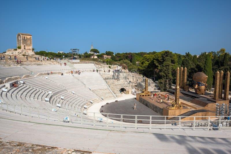 Vista del teatro del greco antico a Siracusa, Italia fotografia stock libera da diritti