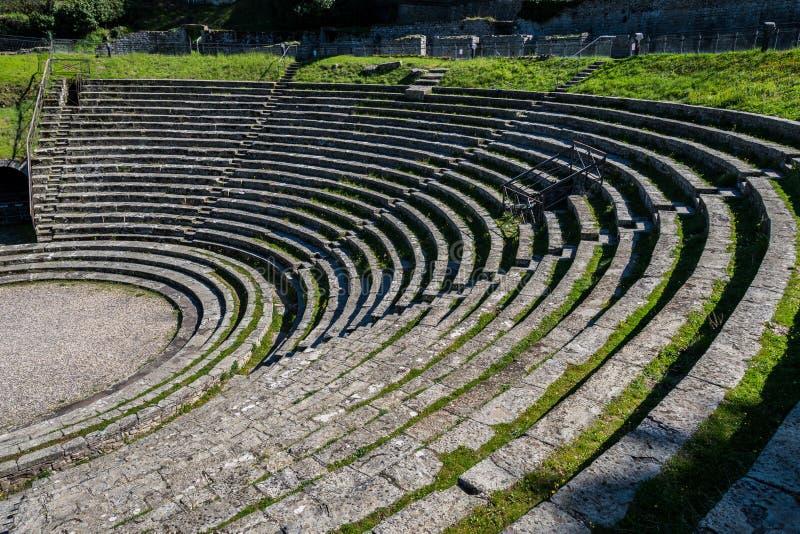Vista del teatro romano antico di Fiesole fotografia stock libera da diritti