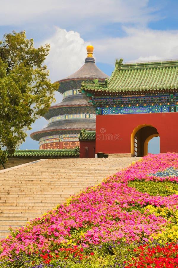 Vista del tempio del cielo dal tubo principale del complesso del tempio e del parco La Cina, Pechino immagine stock libera da diritti