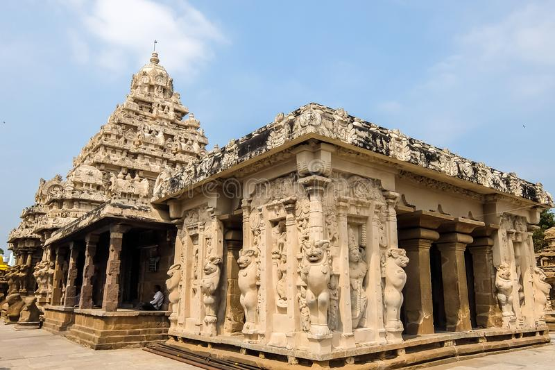Vista del tempio di Kailasanathar in Kanchipuram, India fotografia stock libera da diritti