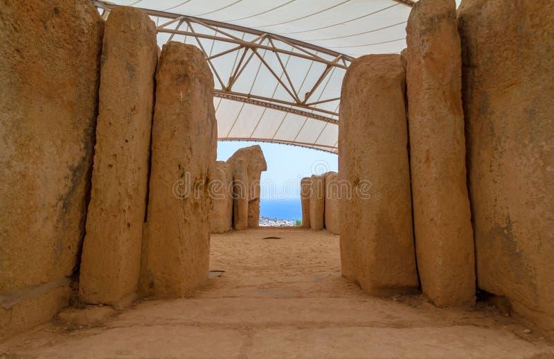 Vista del tempio di Mnajdra immagini stock libere da diritti