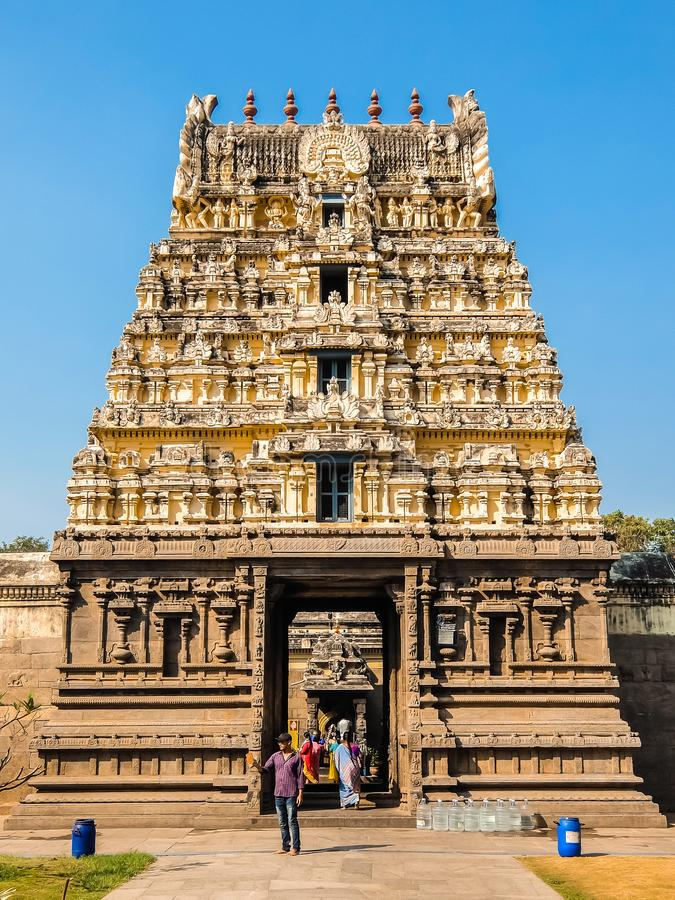 Vista del templo de Sri Jalakandeswarar en Vellore foto de archivo