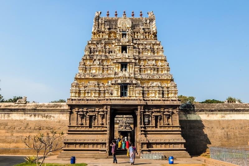 Vista del templo de Sri Jalakandeswarar en Vellore fotografía de archivo