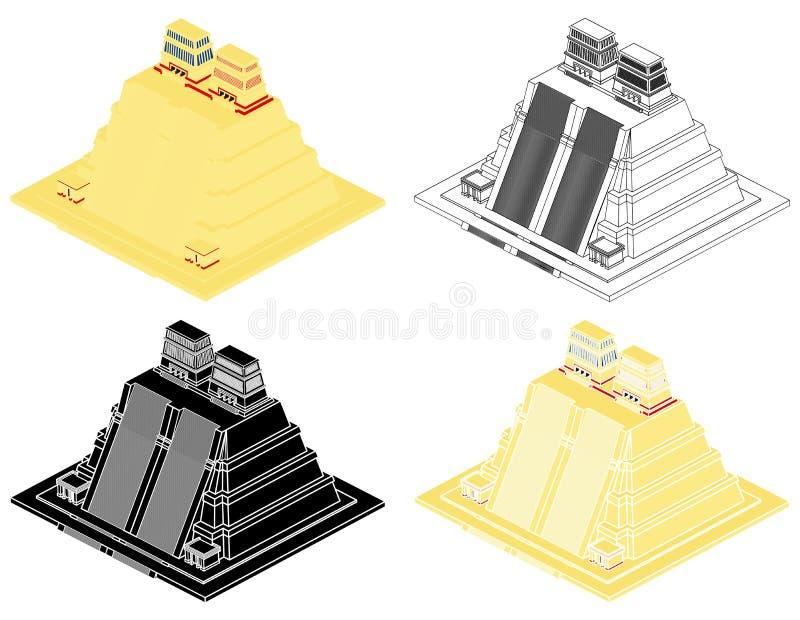 Vista del Templo Mayor Aztec stock de ilustración