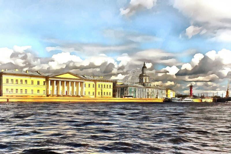Vista del terraplén de Universitetskaya en St Petersburg stock de ilustración