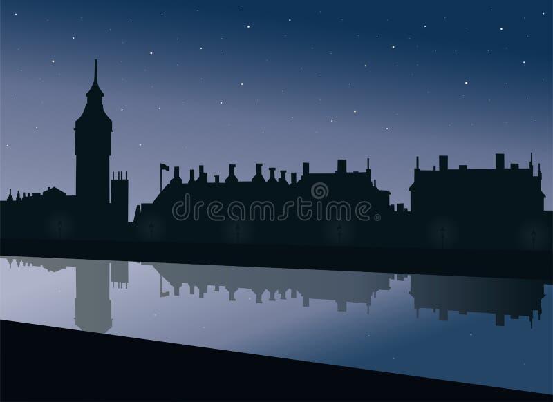 Vista del terraplén del Támesis Big Ben y del palacio del parlamento de Westminster en Londres stock de ilustración