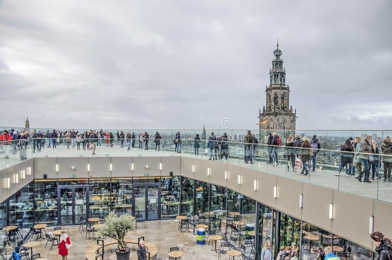 Vista del tetto per la costruzione del forum Groningen fotografia stock libera da diritti