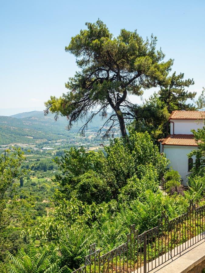 Vista del valle y de los acuerdos alrededor de la ciudad de Edessa, Grecia imagen de archivo libre de regalías