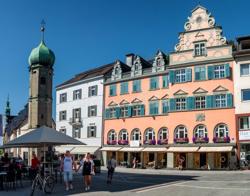 Vista del vecchio centro di Bregenz Austria immagini stock libere da diritti