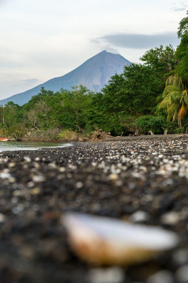 Vista del volcán de Concepción con primero plano borroso en la isla de Ometepe, Nicaragua imágenes de archivo libres de regalías