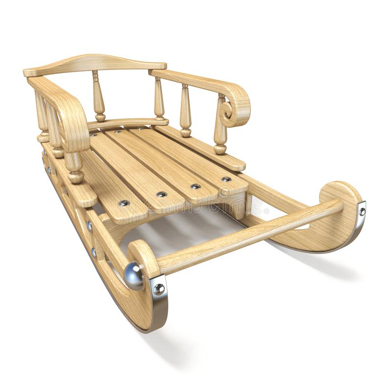 Vista delantera adornada de madera 3D del trineo stock de ilustración