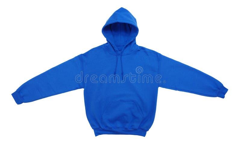 Vista delantera azul del color en blanco del suéter con capucha imagen de archivo libre de regalías