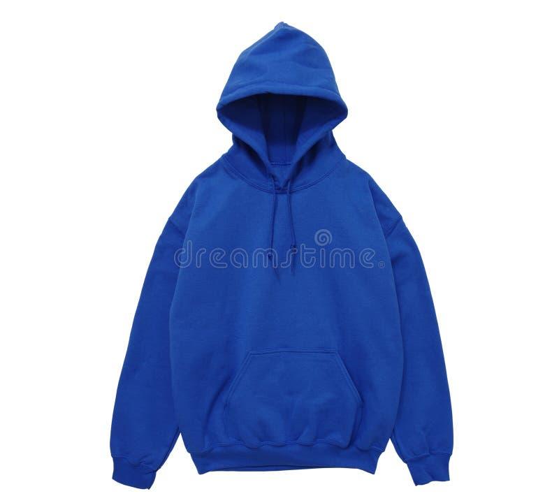 Vista delantera azul del color en blanco del suéter con capucha foto de archivo libre de regalías