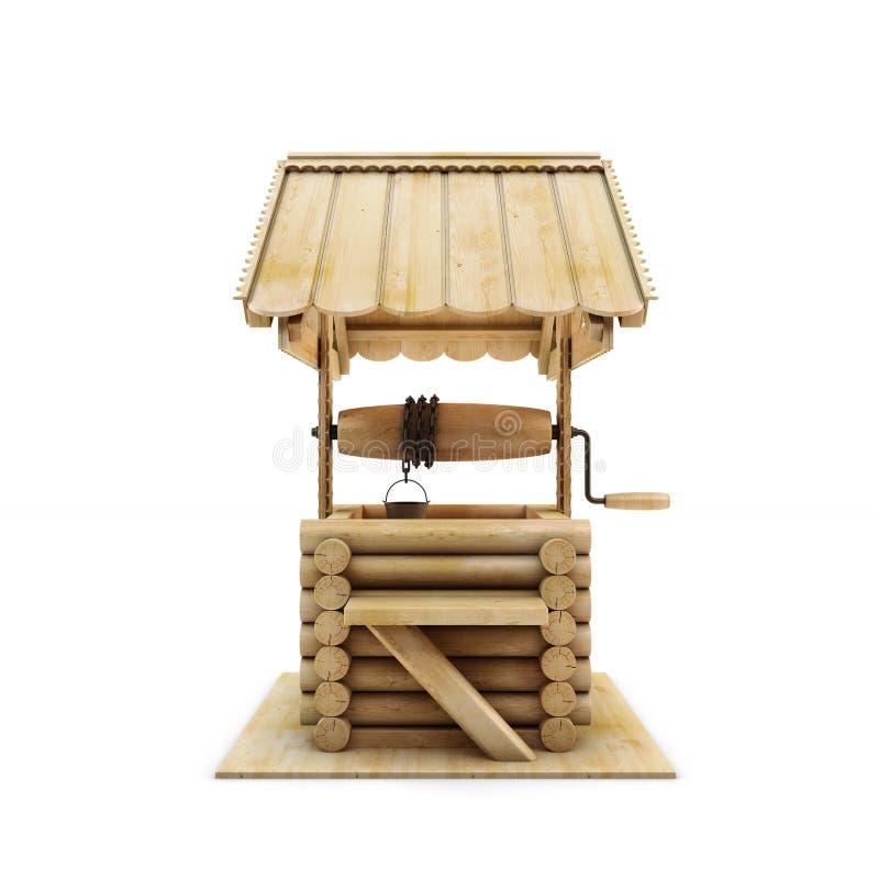 Vista delantera bien de madera ilustración del vector