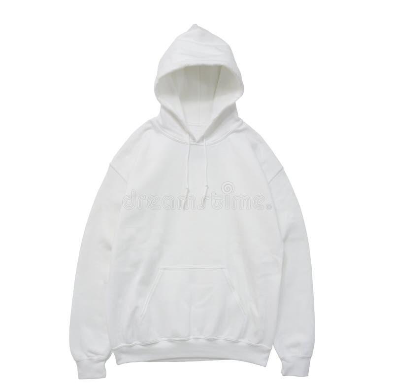 Vista delantera blanca del color en blanco del suéter con capucha imagen de archivo