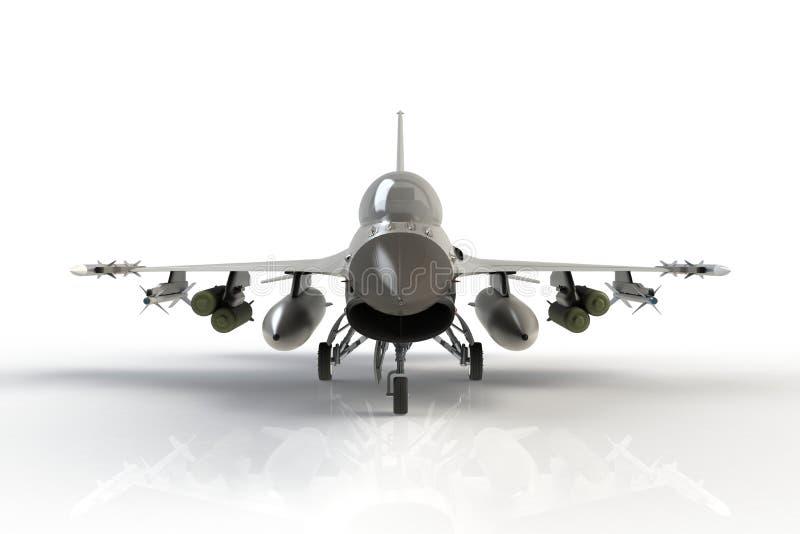 Vista delantera de F-16, avión de combate militar americano en el fondo blanco stock de ilustración