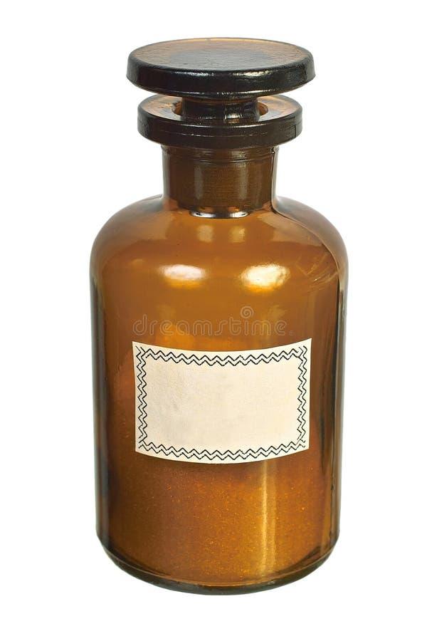 Vista delantera de la botella de cristal imagenes de archivo