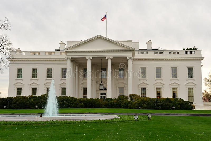 Vista delantera de la casa blanca, Washington, C.C. foto de archivo libre de regalías