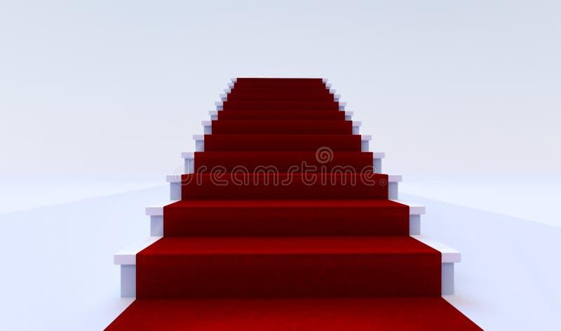 Vista delantera de la escalera blanca con la alfombra roja libre illustration