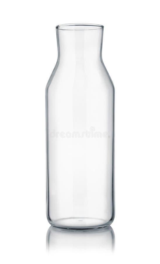 Vista delantera de la garrafa de cristal vacía imagenes de archivo