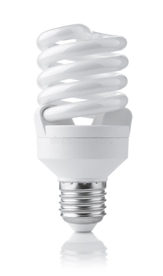 Vista delantera de la lámpara fluorescente compacta foto de archivo libre de regalías