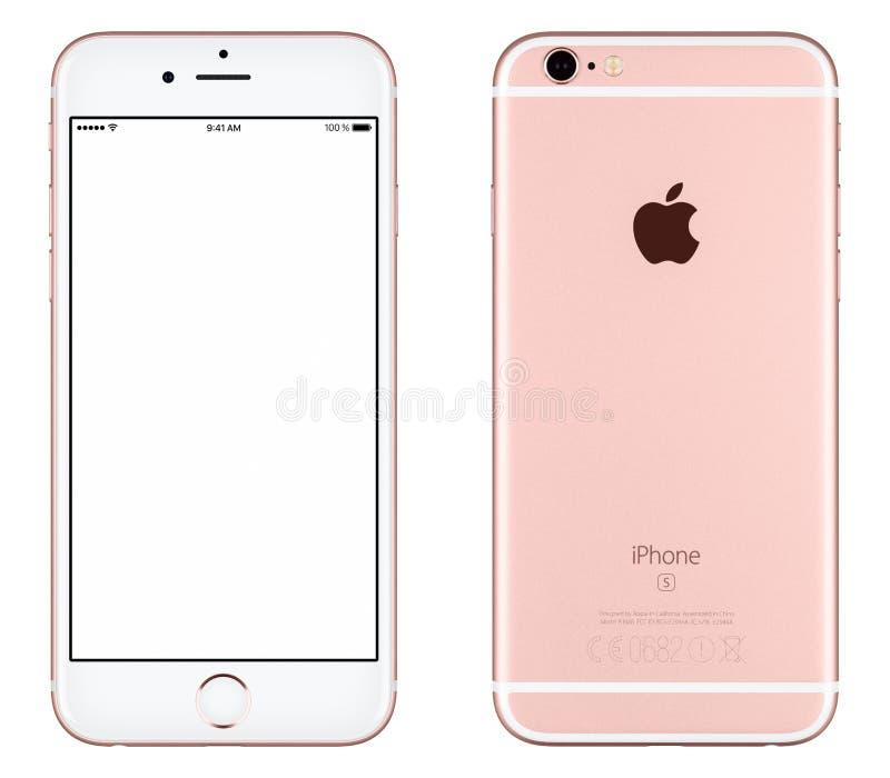 Vista delantera de la maqueta del iPhone 6s de Rose Gold Apple con la pantalla blanca y lado trasero con el logotipo de Apple Inc imagenes de archivo