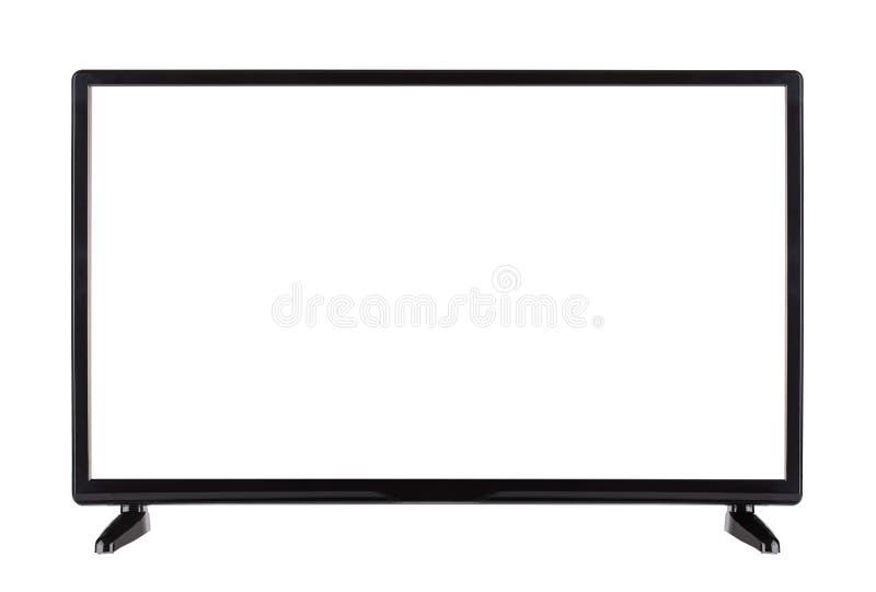 Vista delantera de la pantalla plana negra vacía moderna TV fotografía de archivo