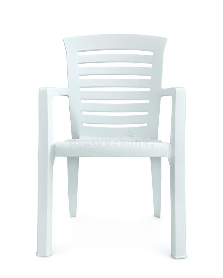 Vista delantera de la silla plástica blanca imagen de archivo