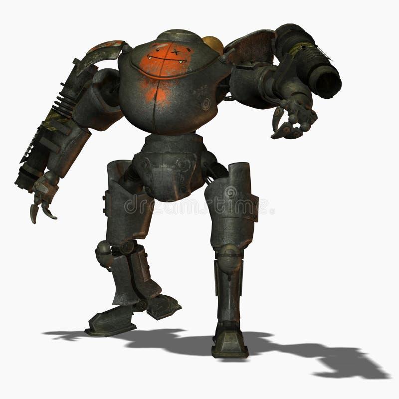 Vista delantera de los robots del combate de Steampunk stock de ilustración