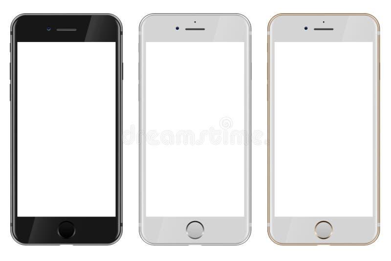 Vista delantera de negro, del blanco y del iPhone 7 de Apple del oro con el wh en blanco stock de ilustración