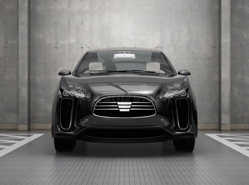 Vista delantera de SUV eléctrico negro en parking ilustración del vector