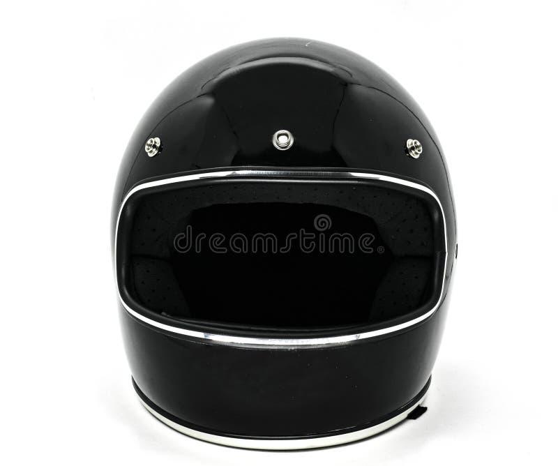 Vista delantera de un casco clásico de la motocicleta del negro del vintage foto de archivo libre de regalías