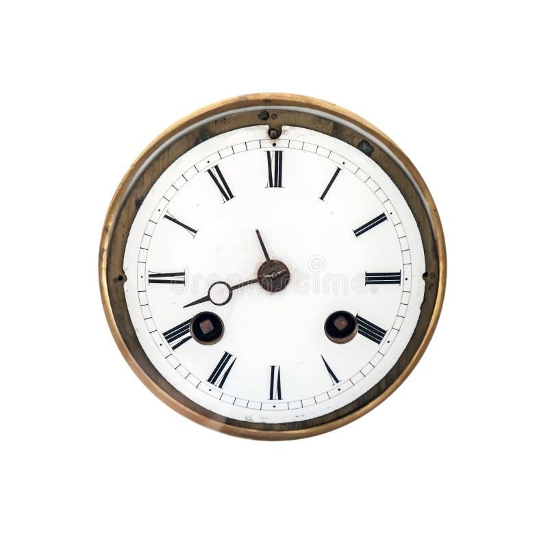 Vista delantera de un dial de reloj antiguo foto de archivo