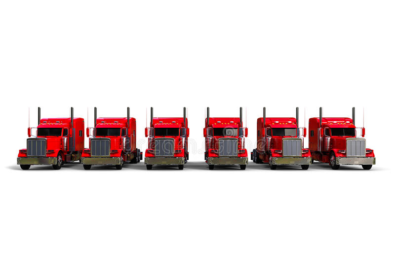 Vista delantera de una flota de camiones del americano ilustración del vector