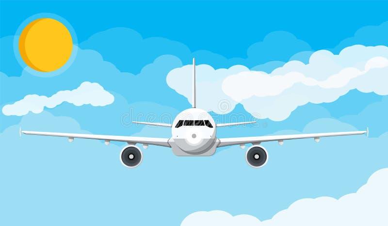 Vista delantera del aeroplano en el cielo con las nubes y el sol ilustración del vector