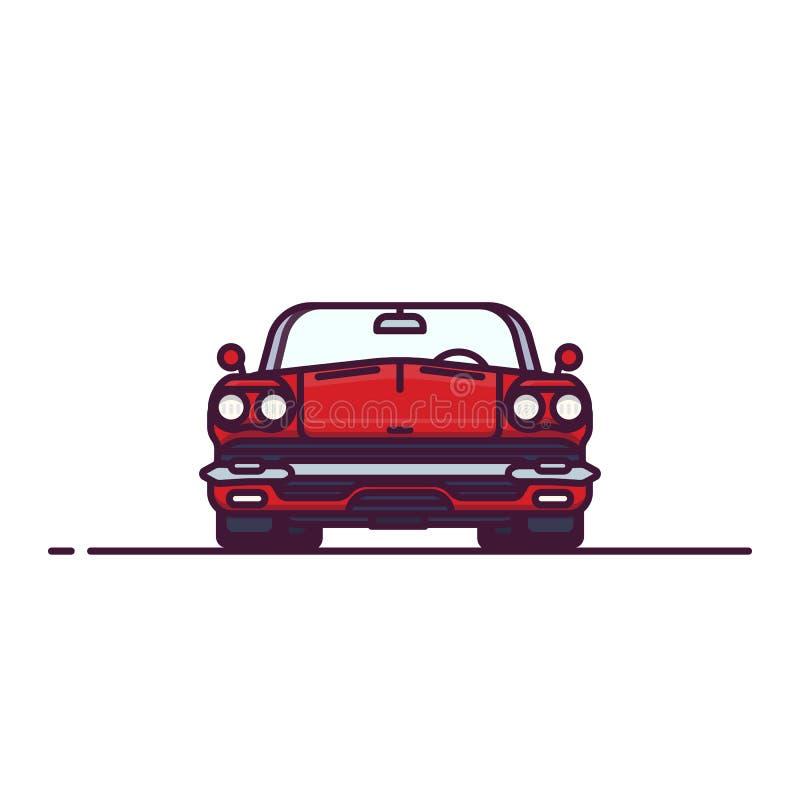 Vista delantera del cabrio retro rojo libre illustration