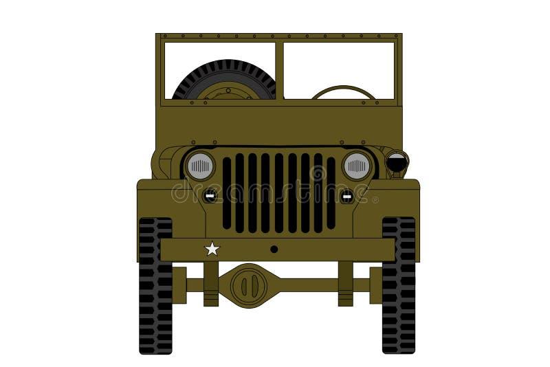 Vista delantera del coche militar del vintage, aislada en el backgroun blanco ilustración del vector